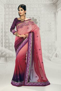 Shaded Onion Pink Bemberg Faux Georgette Saree