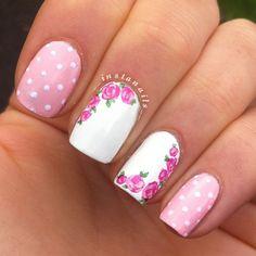 pink nails white polka dots and roses