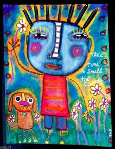 Tracey Ann Finley Original Outsider Raw Brut Folk Painting Child In Flowers 9x12 #OutsiderArt