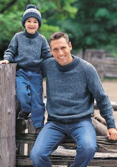 Free knitting patterns for Family Raglan Sweatershirt - This Patons pullover sweater comes in sizes fromchild 4 to adult XL (23-46 in/58.5 to 117 cm chest) so you can knit one for everyone in the family!