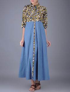 Blue Olive Natural Dyed Kalamkari Cotton Maxi Dress with Front Placket Women Dresses Silhouettes for the Season and Ajrakh Printe