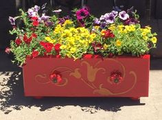Abandoned  Drawer  Into a Gorgeous Flower Planter Using A Stencil