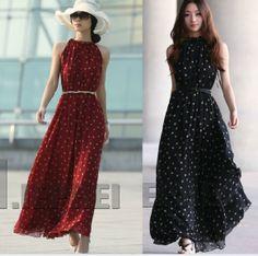 New 2014 Chiffon Polka Dot Maxi DressWomen Casual Vintage Long ...