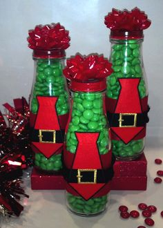 Santa Belt Jars - Made with Starbucks jars, ribbon, red paint, iron on santa belt, red bow and MMs