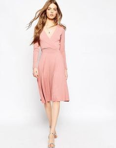 ASOS | ASOS Wrap Midi Dress With Pleats at ASOS