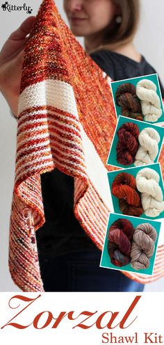 Zorzal shawl knitting kit designed by Lisa Hannes. #kitterlykits