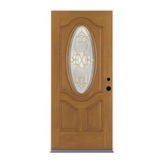 Therma Tru Benchmark Doors Willowbrook 2 Panel Insulating Core Oval Lite  Right Hand Outswing Dark Mahogany Fiberglass Stained Prehung Entry Door  (Common: ...