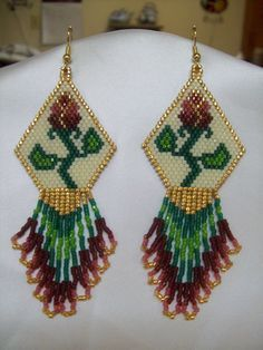 Native American Beaded Antique Victorian Rose Earring. $35.00, via Etsy.