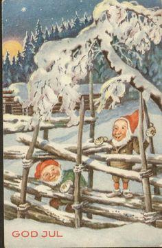 Julekort Paul Lillo-Stenberg. Nisser v/skigard.  Utg Mittet