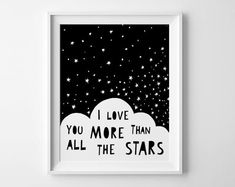 Wallart Monochrome I Love You More Than All the Stars by Mini Learners