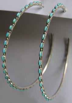 HUGE VINTAGE ZUNI INDIAN STERLING & TURQUOISE ROW PIERCED POST HOOP EARRINGS #Jewelry #Deal #Fashion