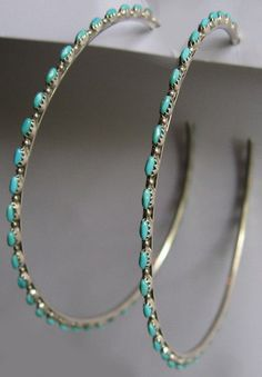 HUGE VINTAGE ZUNI INDIAN STERLING & TURQUOISE ROW PIERCED POST HOOP EARRINGS #Jewelry #Deal #Fashion