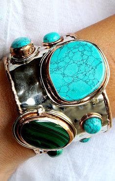 This turquoise and silver cuff is definitely a statement piece.