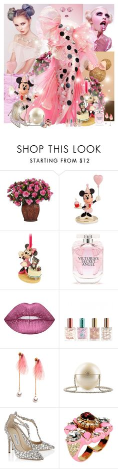 """""""Minnie's Dress"""" by lady-redrise ❤ liked on Polyvore featuring Nearly Natural, Lenox, Moschino, Victoria's Secret, Lime Crime, Zoella Beauty, Chanel, Jimmy Choo and Shourouk"""