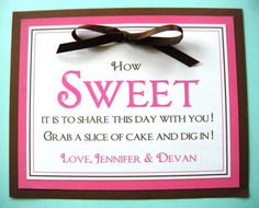 8x10 Custom Printed How Sweet It Is Wedding Reception Sign  - Any Color, Message or Style. $8.50, via Etsy.