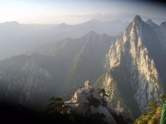 Mt. Huashan in Huayin City, China, is one of the most well-known mountains in China, and one of the most dangerous to climb.