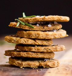 Rosemary Crackers with Olive Oil and Garlic- use almond flour