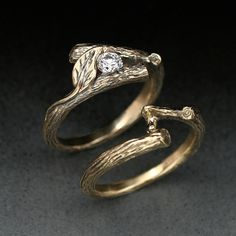 KIJANI WEDDING SET Engagement Ring and matching Wedding Band, in 14k gold with White Sapphire. $870.00, via Etsy.