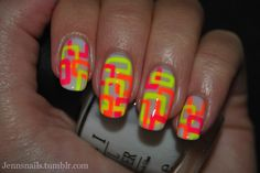 Abstract Neon nail art...i like the bright colors very cute