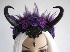 Gothic Horned Headdress Headband Headpiece Fascinator by Ravennixe