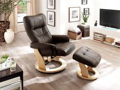 Gumala recliner leather armchair in brown with footstool - 46508 modern & contemporary wingback recliner chair. Luxury electric seating which swivels. Sofa Seats, Sofa Chair, Armchair, Contemporary Recliner Chairs, Furniture Catalog, Leather Recliner, 2 Seater Sofa, Reclining Sofa, Grey Leather
