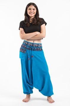 Pinstripe Cotton Low Cut Women's Harem Pants with Elephant Trim in Blue Elephant Pants, Harem Pants, Pants For Women, Cotton, Blue, Collection, Pocket, Fit, Christmas
