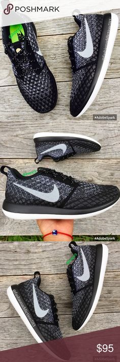 Nike Roshe two flyknit 365 women's black white •Brand new •Authentic •Box not included •Please check out my listings for more Air Max Roshe and Running shoes  •Color could be different depending of your screen brightness Nike Shoes Sneakers