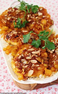 Baked Pineapple Chicken - this is simple to put together and fills your house with fantastic smells.  First you make a yummy sauce by combining pineapple juice, honey, soy sauce, curry powder, hot sauce and vinegar.  Then you smother the chicken with the sauce and bake.  Voila - little effort, big yum.