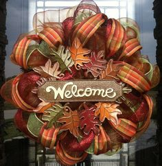 2015 fall leaf deco mesh ribbon wreaths for Thanksgiving Holiday - Handmade Welcome Door Decor Mesh Ribbon Wreaths, Fall Mesh Wreaths, Fall Deco Mesh, Diy Fall Wreath, Wreath Crafts, Deco Mesh Wreaths, Holiday Wreaths, Wreath Ideas, Fall Ribbon Wreath