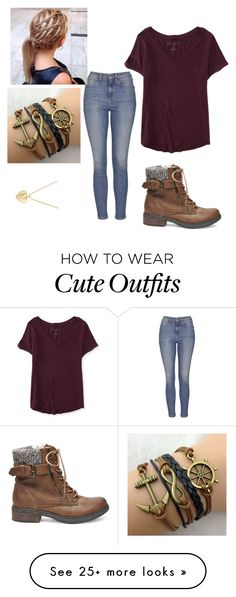 """""""Cute Outfit #76"""" by alliwebkinz on Polyvore featuring moda, Steve Madden, Topshop, Aéropostale, Finn, women's clothing, women, female, woman e misses"""