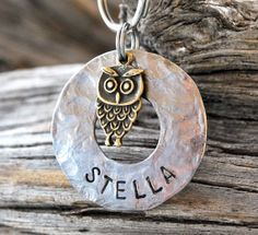 Dog Tag/Tags, Pet ID Tag, Dog Collar Tag, Cat Tag, Personalized, Pet Charm, Keychain, Hand Stamped, Stainless Steel ..... Owl
