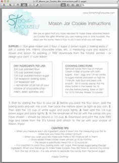 mason jar cookie mix instruction page