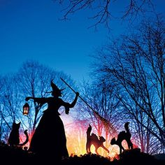 Aren't these backlit silhouettes just fabulous?  What a fun display for Halloween! #topblogsphotoaday #witch . . Image from: Martha Stewart #halloween #silhouette #spooky #haunted #halloweendecor #blackcats #night #sunset #witch #cauldron #witches #spell #fall #autumn #diy #craft #sunset #goblins #boo