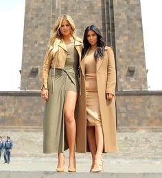 Kim and Khloe Kardashian visit the Mother Armenia statue in Yerevan.