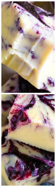 Blueberry Pie Fudge ~ It is extraordinary. Made with just 7 ingredients. Perfect for parties or days it's too hot to bake. Shared by Where YoUth Rise Fudge Recipes, Candy Recipes, Sweet Recipes, Baking Recipes, Dessert Recipes, Dinner Recipes, Slow Cooked Meals, Homemade Candies, Homemade Marshmallows