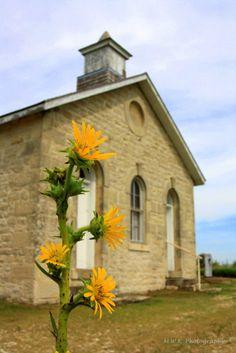 """ Lower Fox Creek School House "" on the Tall Grass Prairie National Park."