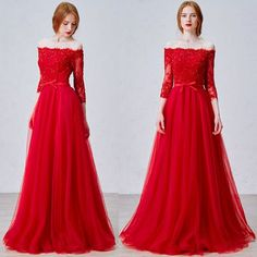 Red Beaded Lace Tulle Off the Shoulder Prom Evening Ball Gown Dress SKU-122156