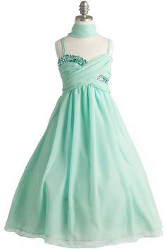 Flor chica vestido menta verde gasa cristal tobillo superior longitud. Vestido de Damita de honor de menta verde. Las chicas verdes menta formales del vestido.