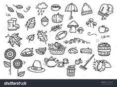 Cute autumn doodle background