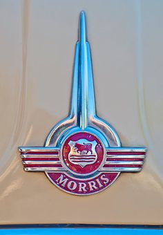 Morris Hood Emblem by Jill Reger Car Badges, Car Logos, Morris Traveller, Vintage Cars, Antique Cars, Car Bonnet, Car Hood Ornaments, Car Radiator, Morris Minor