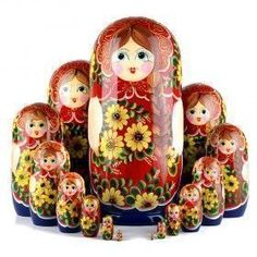 Yellow Flowers Nesting Doll 15 pcs