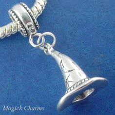 Sterling Silver .925 WITCH Wizard HAT Halloween EUROPEAN Euro DANGLE Bead CHARM