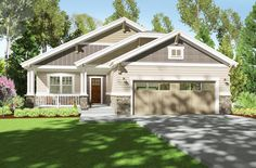 2 Bed Bungalow with Exterior Options - 64412SC | Craftsman, Northwest, Narrow Lot, 1st Floor Master Suite, CAD Available, Den-Office-Library-Study, PDF | Architectural Designs