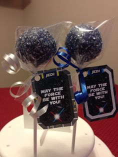 Another cake pop order. The customer wanted a Star Wars theme and she provided the tags. French Vanilla cake with French Vanilla icing inside with a vanilla flavored navy blue icing with silver sugar sprinkles.
