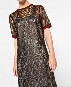 ABITO IN PIZZO DORATO-VESTITI-TRF | ZARA Italia Now in my closet! Lace golden long dress