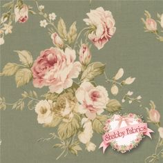 """Live Life 812735-D by Yuwa Fabrics: This incredibly beautiful and detail-oriented Yuwa fabric is from the Live Life collection. The fabric features a sage green background with true pink, blush, tonal green and white rose bouquets as well as crisp greenery trailing through the background. Yuwa is a Japanese fabric manufacturer that creates some of today's highest-end and most sought after cottons.  This fabric is 44""""/45"""" wide, 100% cotton, imported from Japan. Yuwa Fabrics."""