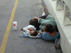sad. #homeless #mother and #child Bangkok, Thailand.