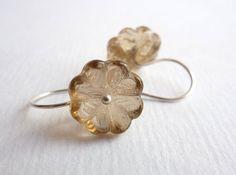 Topaz Flower Earrings Sterling Silver Czech by KittyBallistic, £13.00
