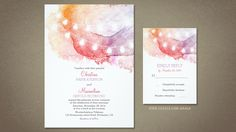 Watercolor wedding invitation with cute string of lights. Perfect invite for modern and contemporary outdoor wedding, beach wedding at the sunset or destination wedding theme. Nice blush pink, purp...