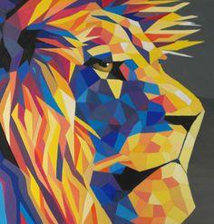 Original Lion Painting – The Blue and Yellow Series | ricardogarcesart